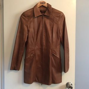 Danier tanned fitted leather coat, size Small